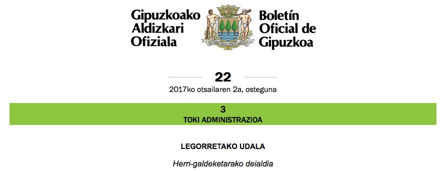 Herri-galdeketarako deialdia argitaratu da Gipuzkoako Aldizkari Ofizialean