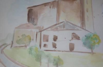 Pintura lanen erakusketa elizako portikoan